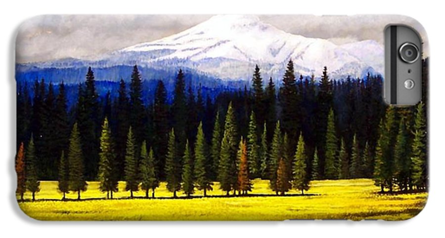 Landscape IPhone 6 Plus Case featuring the painting Spring Meadow Mount Brokeoff by Frank Wilson