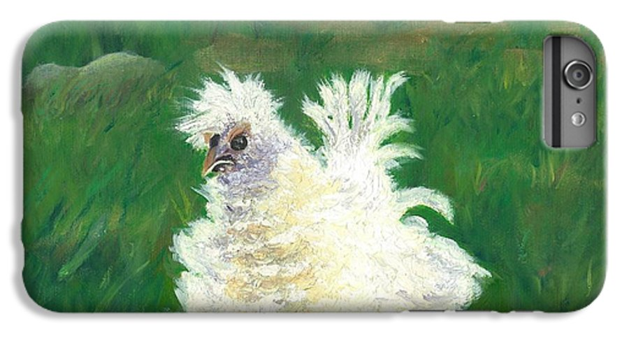 Bantam Frizzle Farmscene Chickens Hen Bird Nature Animals Spring Freerangers IPhone 6 Plus Case featuring the painting Squiggle by Paula Emery