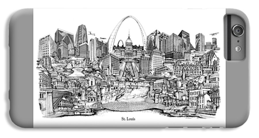 City Drawing IPhone 6 Plus Case featuring the drawing St. Louis 4 by Dennis Bivens