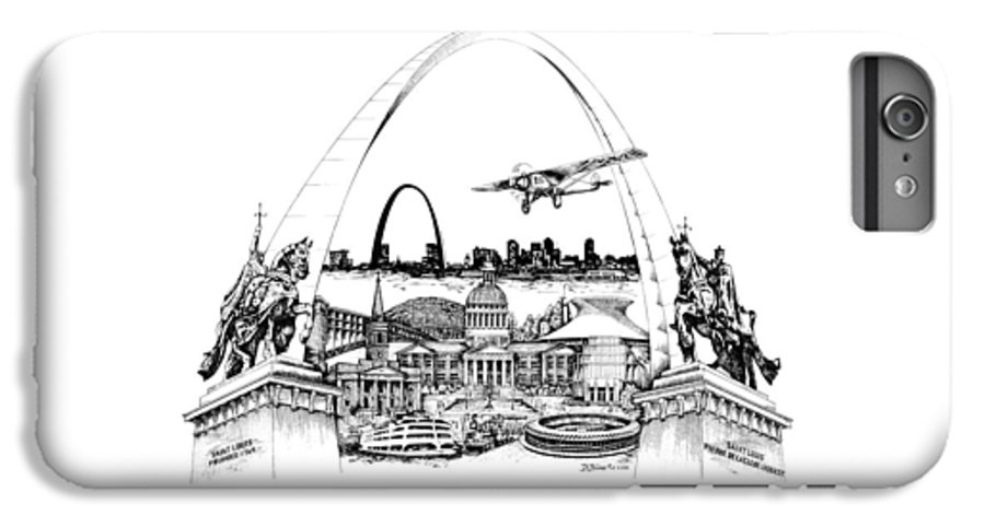 City Drawing IPhone 6 Plus Case featuring the drawing St. Louis Highlights Version 1 by Dennis Bivens