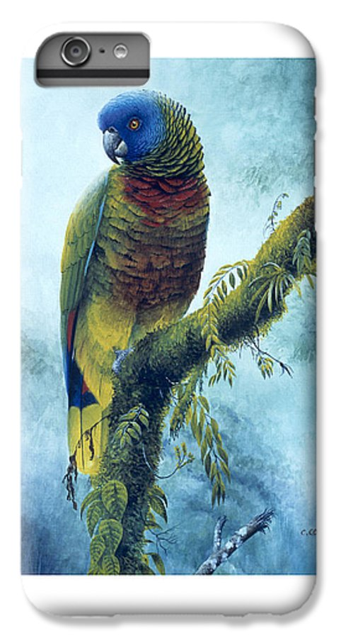 Chris Cox IPhone 6 Plus Case featuring the painting St. Lucia Parrot - Majestic by Christopher Cox