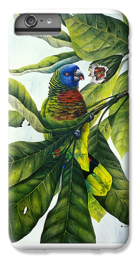 Chris Cox IPhone 6 Plus Case featuring the painting St. Lucia Parrot And Fruit by Christopher Cox