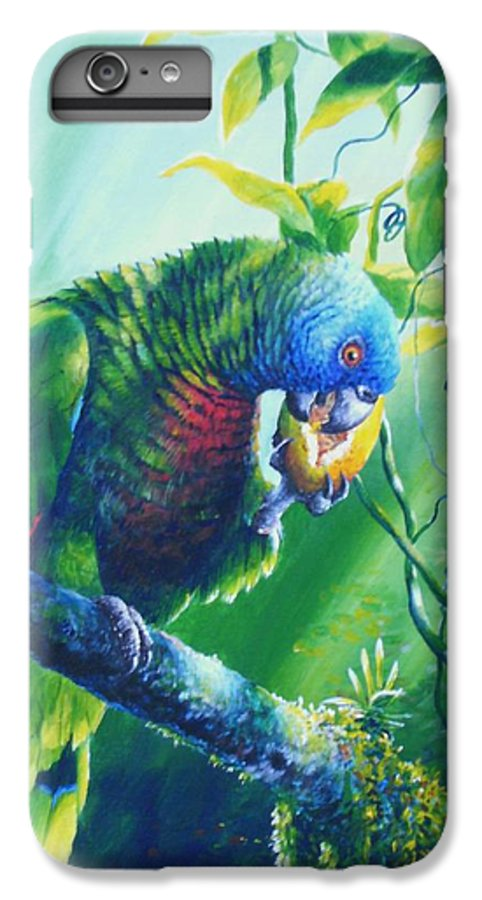 Chris Cox IPhone 6 Plus Case featuring the painting St. Lucia Parrot And Wild Passionfruit by Christopher Cox
