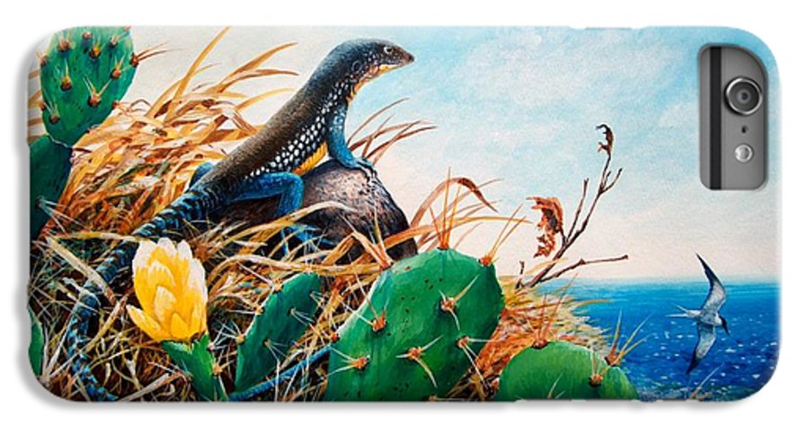 Chris Cox IPhone 6 Plus Case featuring the painting St. Lucia Whiptail by Christopher Cox