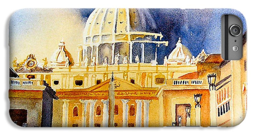 Vatican IPhone 6 Plus Case featuring the painting St. Peters Basilica by Karen Stark