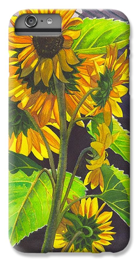 Sunflowers IPhone 6 Plus Case featuring the painting Stalk Of Sunflowers by Catherine G McElroy