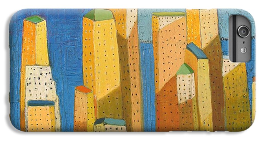 Abstract Cityscape IPhone 6 Plus Case featuring the painting Standing High by Habib Ayat