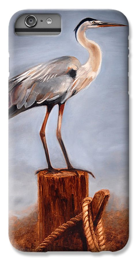 Heron IPhone 6 Plus Case featuring the painting Standing Watch by Greg Neal