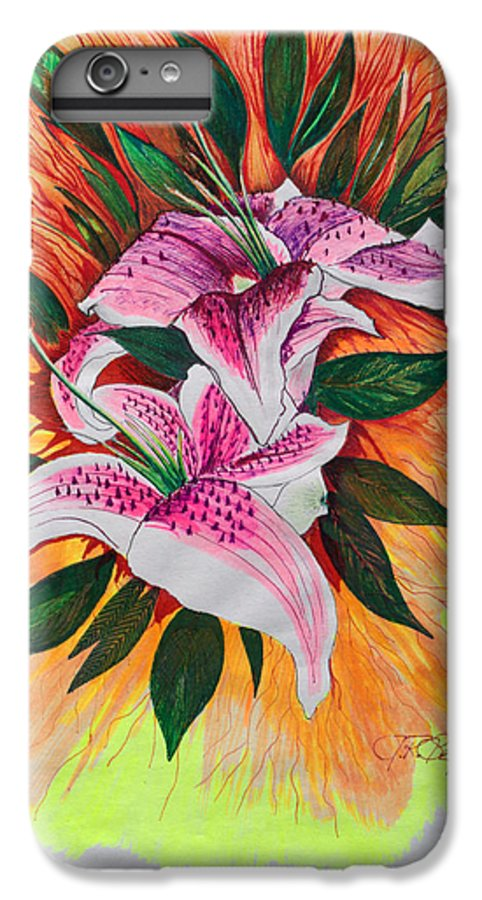 Flowers IPhone 6 Plus Case featuring the drawing Stargazers by J R Seymour