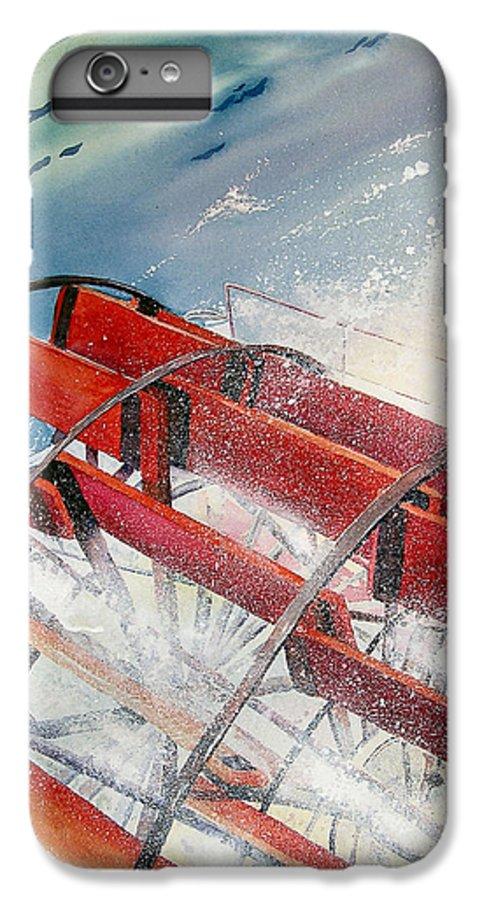 Paddlewheeler IPhone 6 Plus Case featuring the painting Sternwheeler Splash by Karen Stark