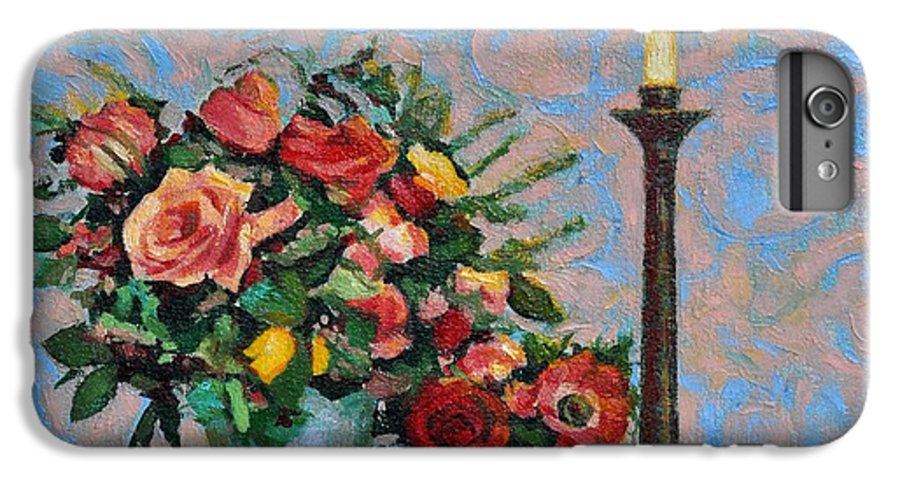 Flowers IPhone 6 Plus Case featuring the painting Still Life With A Lamp by Iliyan Bozhanov