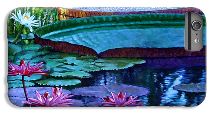 Garden Pond IPhone 6 Plus Case featuring the painting Stillness Of Color And Light by John Lautermilch