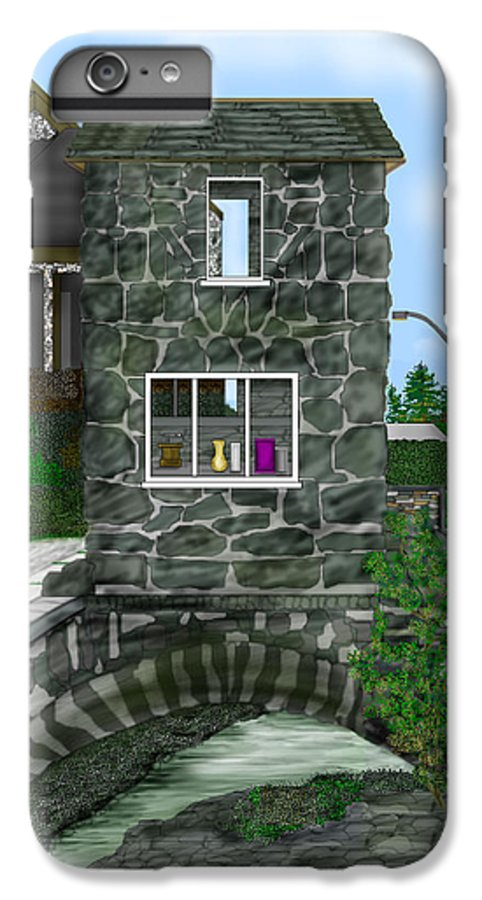 Landscape IPhone 6 Plus Case featuring the painting Stone Bridge House In The Uk by Anne Norskog