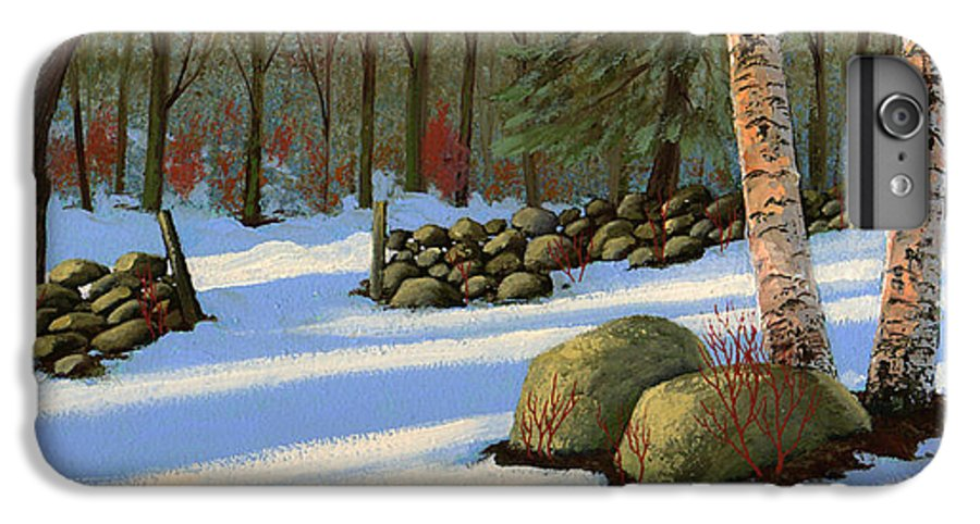 Landscape IPhone 6 Plus Case featuring the painting Stone Wall Gateway by Frank Wilson
