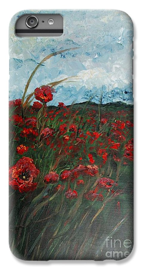 Poppies IPhone 6 Plus Case featuring the painting Stormy Poppies by Nadine Rippelmeyer