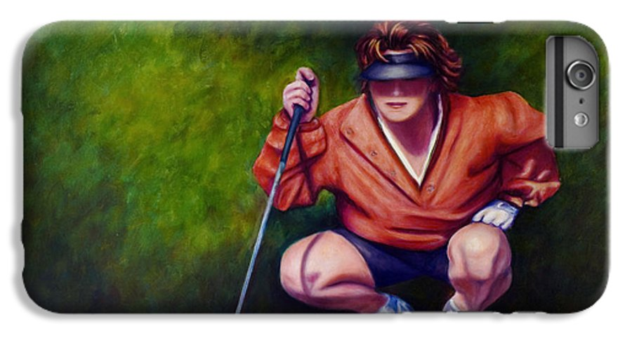 Golfer IPhone 6 Plus Case featuring the painting Straightshot by Shannon Grissom