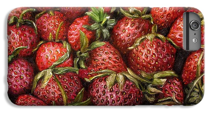 Strawberries IPhone 6 Plus Case featuring the painting Strawberries -2 Contemporary Oil Painting by Natalja Picugina
