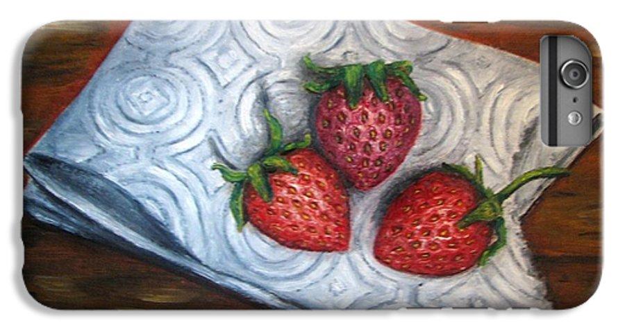 Strawberries IPhone 6 Plus Case featuring the painting Strawberries-3 Contemporary Oil Painting by Natalja Picugina