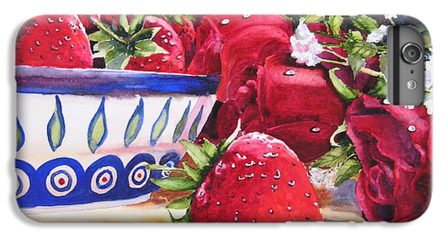 Strawberries IPhone 6 Plus Case featuring the painting Strawberries And Roses by Karen Stark