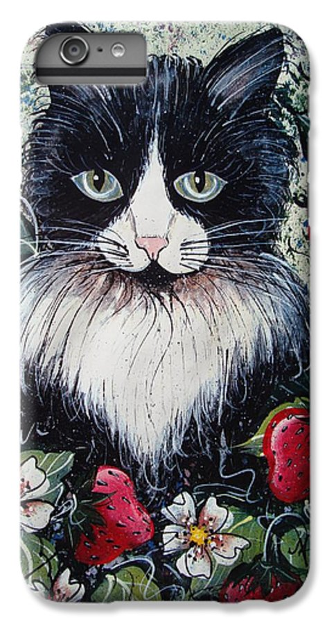 Cat IPhone 6 Plus Case featuring the painting Strawberry Lover Cat by Natalie Holland