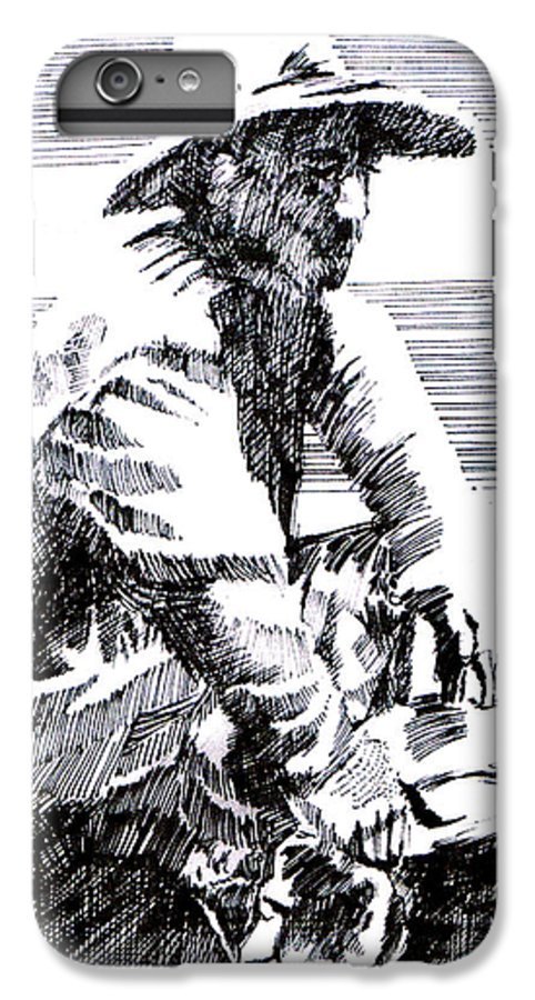 1850's Old West IPhone 6 Plus Case featuring the drawing Striking It Rich by Seth Weaver