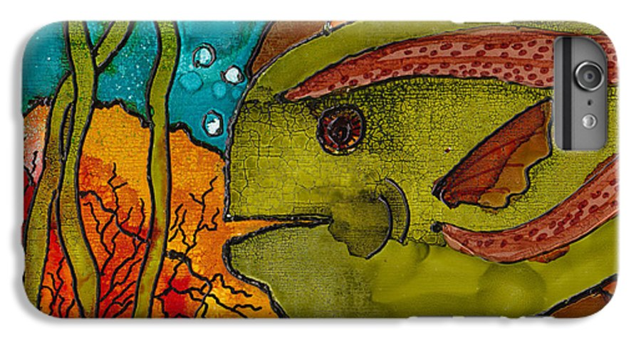 Fish IPhone 6 Plus Case featuring the painting Striped Fish by Susan Kubes