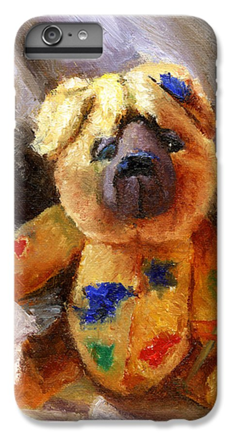 Teddy Bear Art IPhone 6 Plus Case featuring the painting Stuffed With Luv by Chris Neil Smith