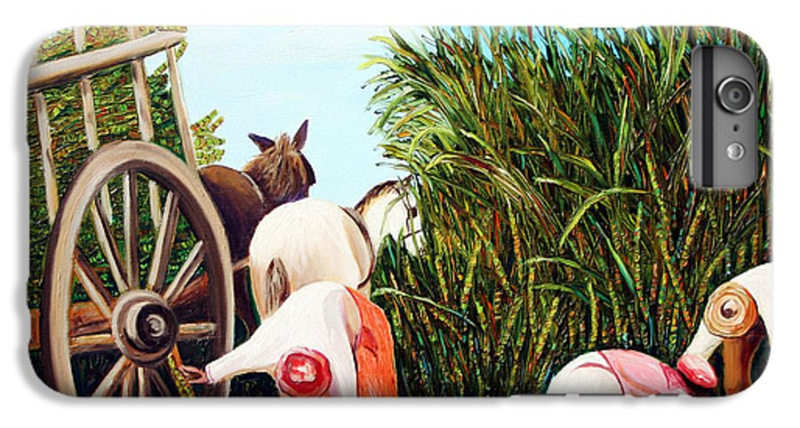 Cuban Art IPhone 6 Plus Case featuring the painting Sugarcane Worker 1 by Jose Manuel Abraham