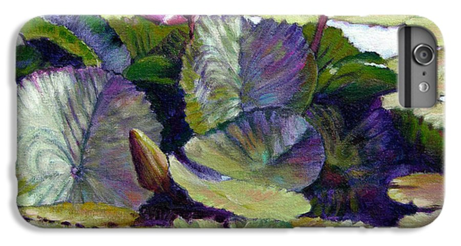 Water Lilies IPhone 6 Plus Case featuring the painting Summer Breeze by John Lautermilch