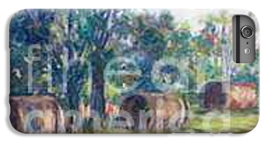 Landscape IPhone 6 Plus Case featuring the painting Summer Idyll by Jan Bennicoff