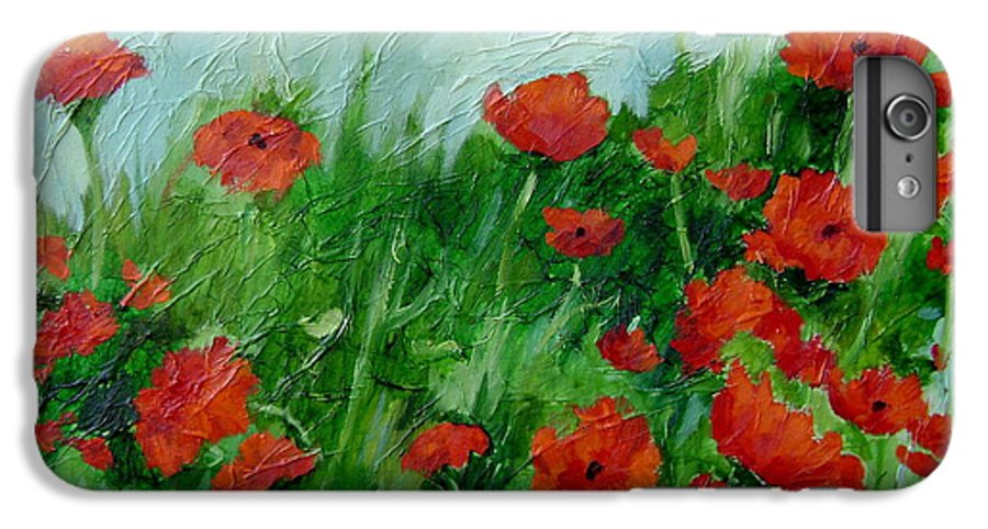 Red Poppies IPhone 6 Plus Case featuring the painting Summer Poppies by Ginger Concepcion