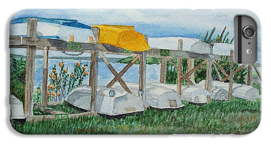 Rowboats IPhone 6 Plus Case featuring the painting Summer Row Boats by Dominic White
