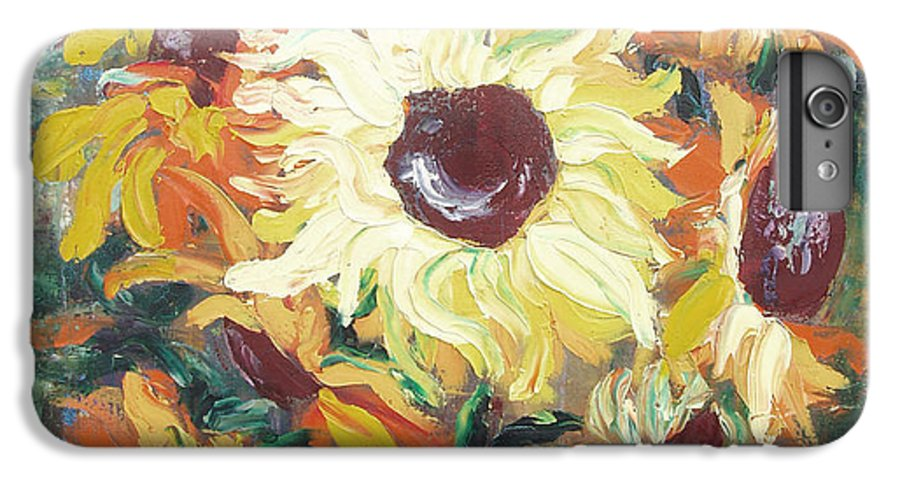 Sunflowers IPhone 6 Plus Case featuring the painting Sun In A Vase by Gina De Gorna