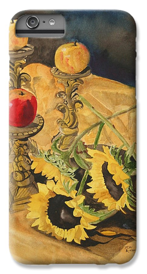 Still Life IPhone 6 Plus Case featuring the painting Sunflowers And Apples by Jean Blackmer