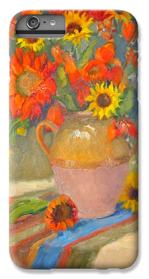 Sunflowers IPhone 6 Plus Case featuring the painting Sunflowers And More by Bunny Oliver