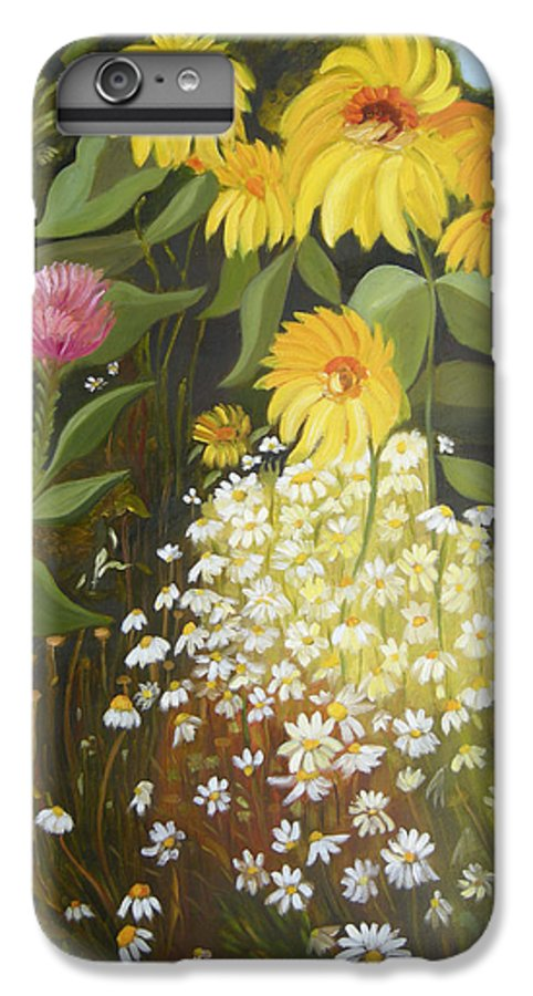 Landskape IPhone 6 Plus Case featuring the painting Sunflowers by Antoaneta Melnikova- Hillman