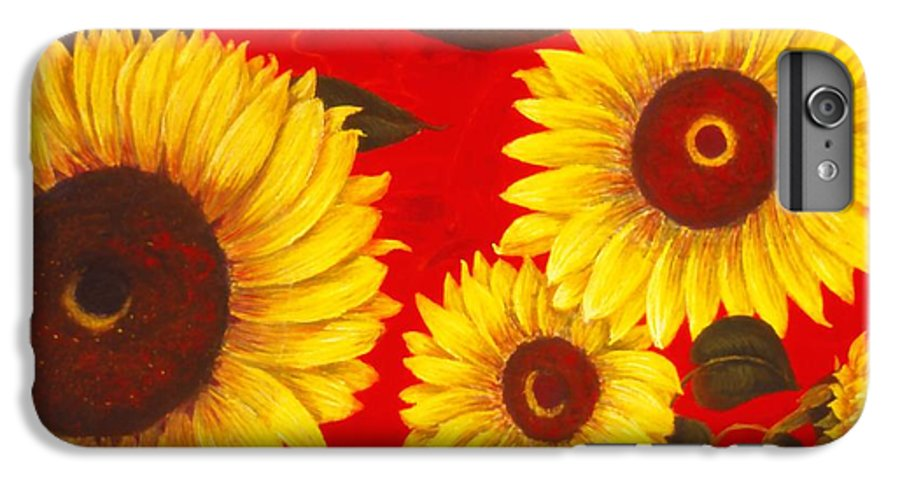 Flowers IPhone 6 Plus Case featuring the painting Sunflowers IIi by Mary Erbert