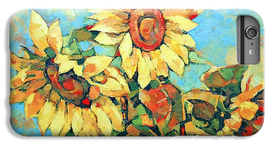 Sunflowers IPhone 6 Plus Case featuring the painting Sunflowers by Iliyan Bozhanov