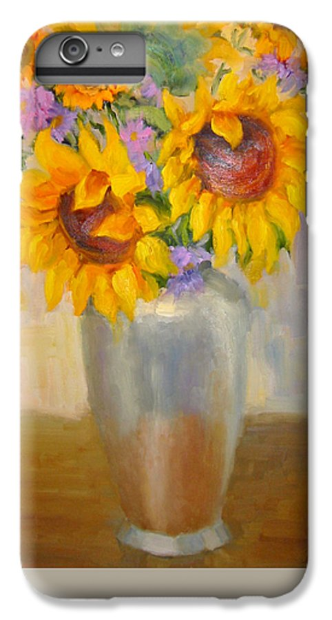 Sunflowers IPhone 6 Plus Case featuring the painting Sunflowers In A Silver Vase by Bunny Oliver