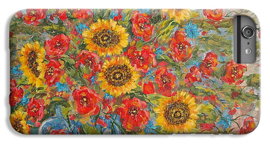 Flowers IPhone 6 Plus Case featuring the painting Sunflowers In Blue Pitcher. by Leonard Holland