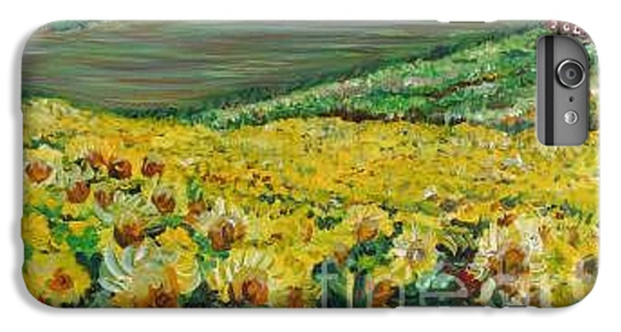 A Field Of Yellow Sunflowers IPhone 6 Plus Case featuring the painting Sunflowers In Provence by Nadine Rippelmeyer