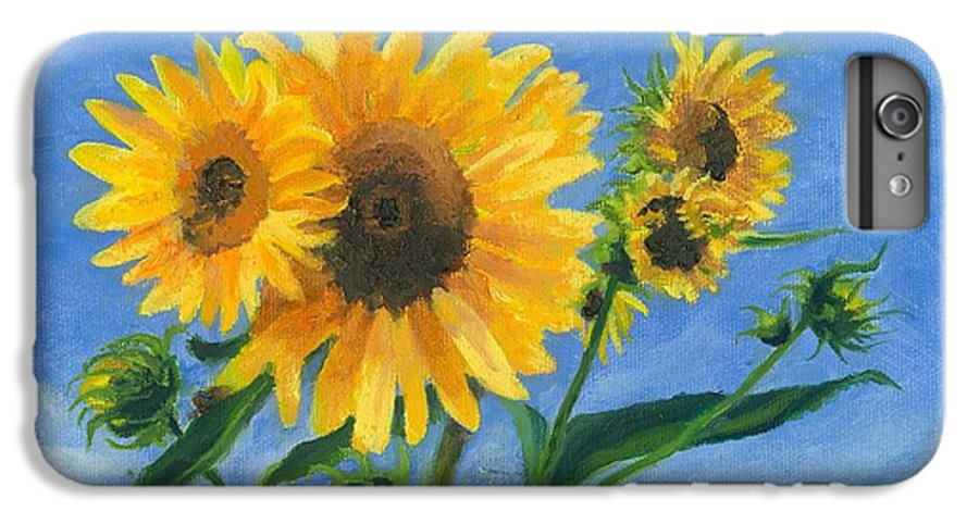 Flowers IPhone 6 Plus Case featuring the painting Sunflowers On Bauer Farm by Paula Emery