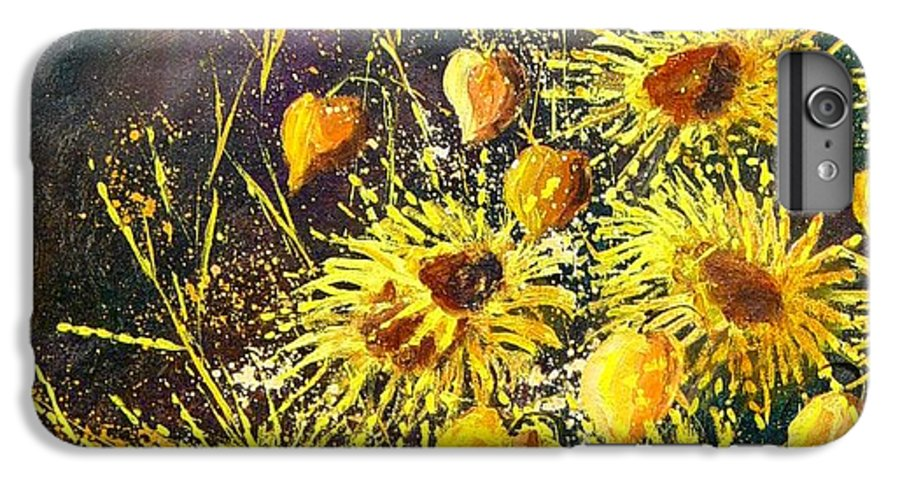 Flowers IPhone 6 Plus Case featuring the painting Sunflowers by Pol Ledent