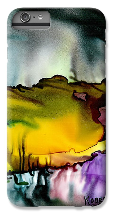 Abstract IPhone 6 Plus Case featuring the mixed media Sunless Sea by Susan Kubes