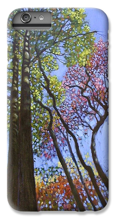 Fall Trees Highlighted By The Sun IPhone 6 Plus Case featuring the painting Sunlight On Upper Branches by John Lautermilch
