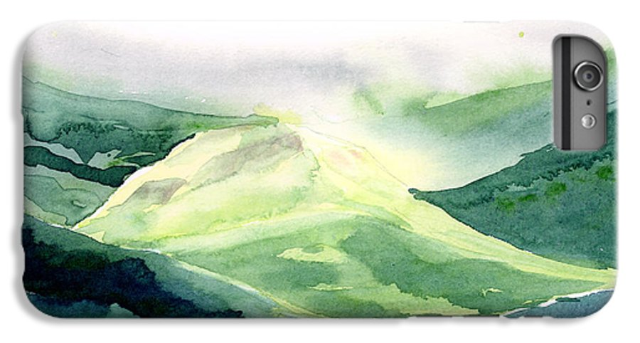 Landscape IPhone 6 Plus Case featuring the painting Sunlit Mountain by Anil Nene