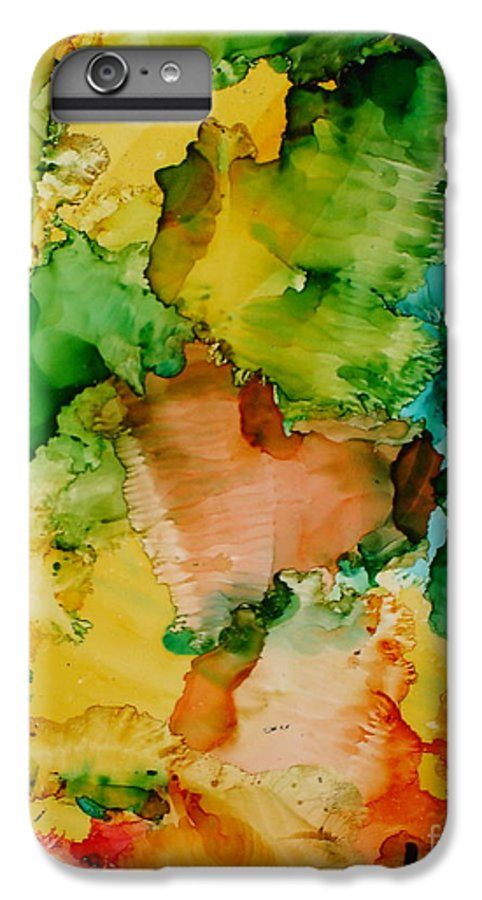 Abstract IPhone 6 Plus Case featuring the painting Sunlit Reef by Susan Kubes