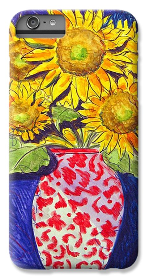 Sunflower IPhone 6 Plus Case featuring the painting Sunny Disposition by Jean Blackmer