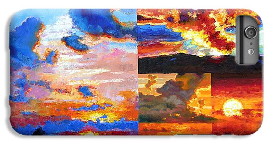 Sunrise IPhone 6 Plus Case featuring the painting Sunrise Sunset Sunrise by John Lautermilch