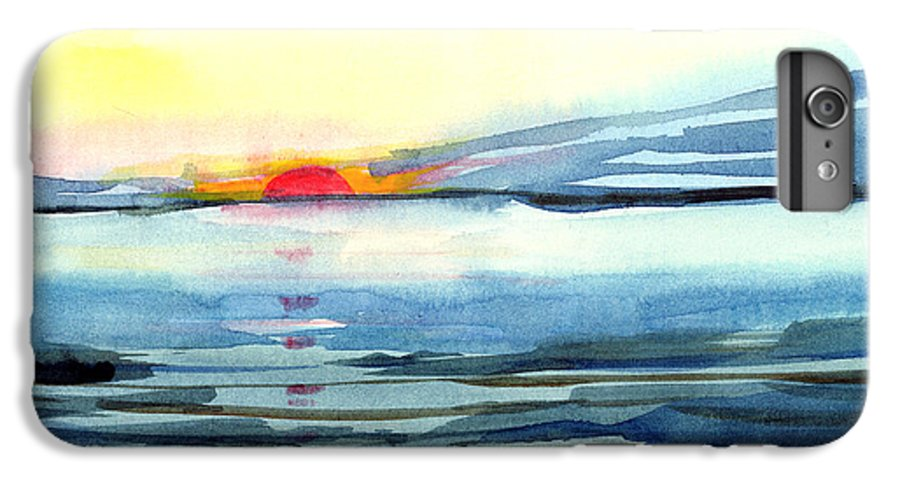 Landscape Seascape Ocean Water Watercolor Sunset IPhone 6 Plus Case featuring the painting Sunset by Anil Nene